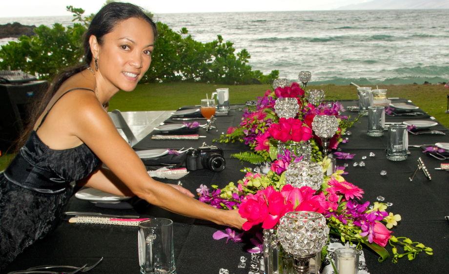Amazing table scape at Maui wedding