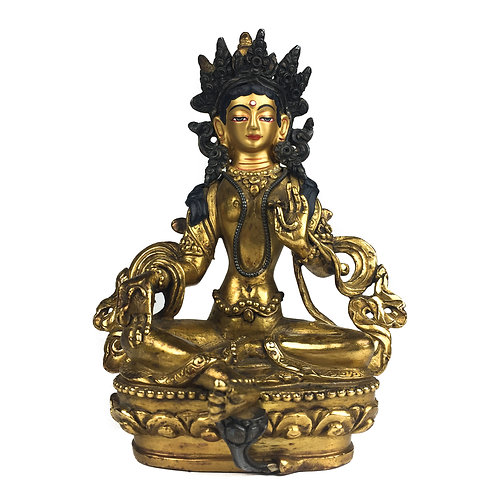 "綠度母 (B) 銅 全鎏金 手工尼泊爾 佛像  Green Tara Statue Copper Fully Gold Nepal 5.5"" (13.5cm)"