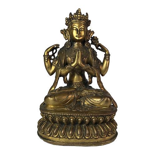 """四臂觀音-1 銅 鎏金仿古 尼泊爾 佛像 Chenresi Statue Copper Antique Look Nepal 8"""" (21cm)"""