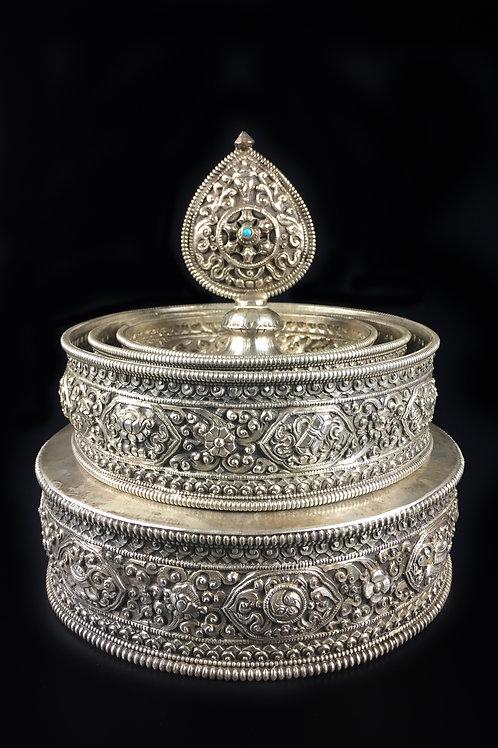 曼達盤 (A) 全鎏銀八吉祥圖 手工 尼泊爾 Mandala Silver Gilted Nepal 直徑D15cm
