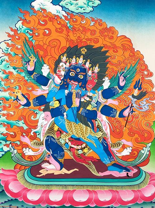 普巴金剛泥金手繪唐卡 Phurpa SaktiHandpainted Thangka 54x67cm