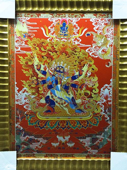 普巴金剛唐卡 印刷裝框 Phurpa / Vajrakila Printed Thangka