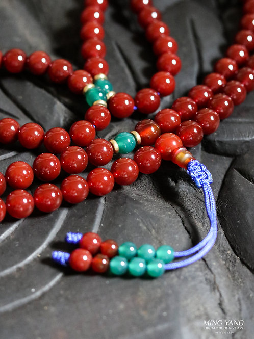 紅瑪瑙念珠 108 Red Agate Stone Mala Prayer Beads 108 (Buy 1 Take 1 Free)