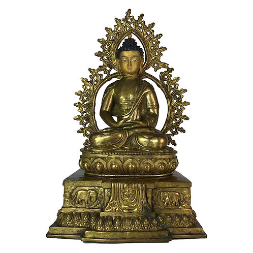 阿密陀佛-3 銅 鎏金 雙座背光 佛像 Amitabha Buddha Double Base with Frame 27x42cm / 5.7kgs