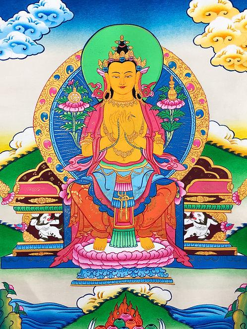 彌勒佛/未來佛 (小) 唐卡 手繪 Maitreya Handpainted Small Thangka W46/H80 cm