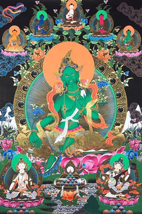 綠度母五方佛 妙音佛母 大白傘蓋 黑底泥金唐卡 精緻手繪 Green Tara Handpainted Thangka 96x113cm