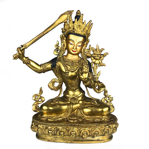 """文殊菩薩 (A) 銅 全鎏金 手工 尼泊爾 佛像 Manjushri Statue Copper Nepal 11"""" (28cm)"""