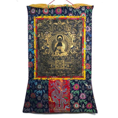 黑底泥金 釋迦佛 (A) 唐卡 Shakyamuni Thangka 81x130cm