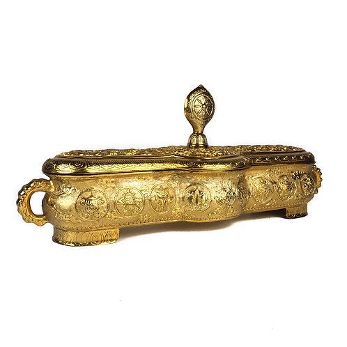 香爐 銅鍍金 兩用香爐 Burner 34x11x15cm 內徑28.5x5.5cm 內直徑9cm