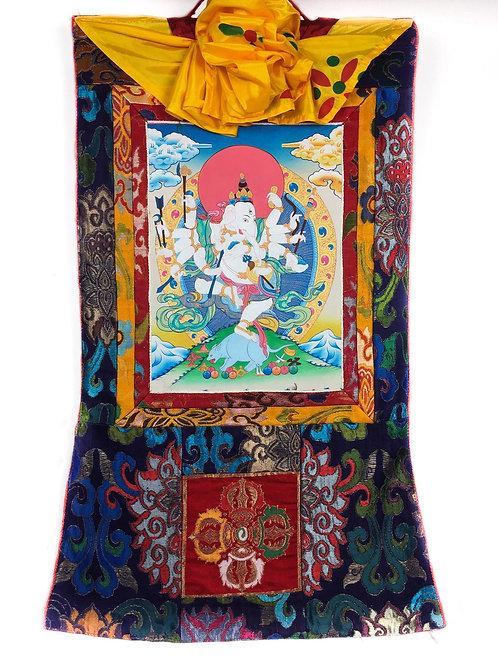 象鼻財神/紅財神 (小) 唐卡 手繪 Ganesh Handpainted Small Thangka W46/H80 cm