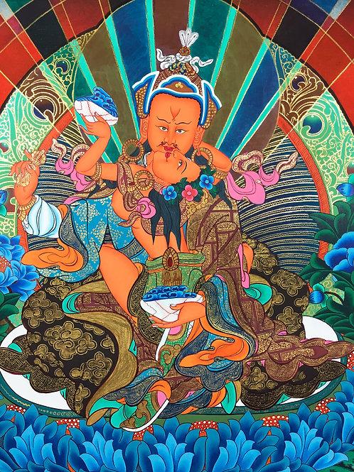 蓮花生大士(蓮師)雙身相 泥金手繪唐卡 Handpainted Thangka Guru/ Shakti52x69cm