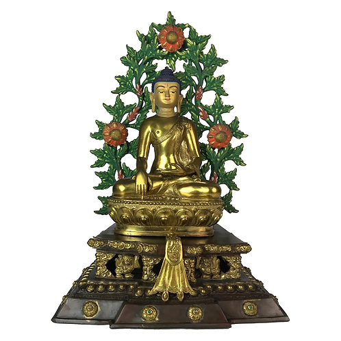 釋迦佛-3 銅鎏金 雙座背光 手工尼泊爾佛像 Shakyamuni Buddha Double Base with Frame 24x35cm / 4.2kgs