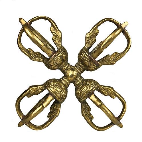 十字杵 五股 黃銅 Double Dorje 5 leaf Brass 10x10cm