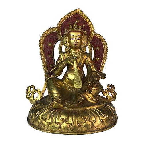 """特殊財神-1 銅 全鎏金 手工 尼泊爾 佛像-2 Special Jambala Copper Fully Gold Nepal 7"""" (18cm)"""