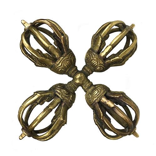 十字杵 九股 黃銅 Double Dorje 5 leaf Brass 10x10cm