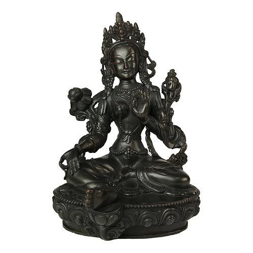 """綠度母-1 銅 手工 尼泊爾 佛像 Green Tara Statue Copper Handmade Nepal 8"""" (20cm)"""