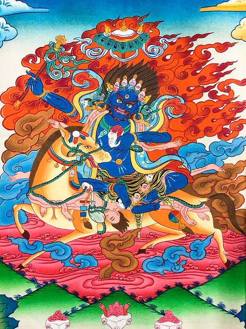 吉祥天母 (小) 唐卡 手繪 Palden Lhamo Handpainted Small Thangka W46/H80 cm