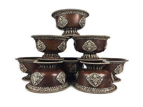 八供杯 (腳) 手工銅鎏銀 Offering cups/ bowls Copper with silver D18cm H10cm (8pcs/set)