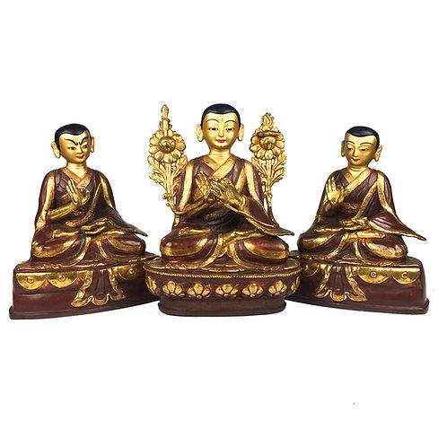 """宗喀巴師徒三尊 銅 半鎏金 手工 尼泊爾 Tsongkhapa w/ Followers 3 pcs Partly Gold Nepal 8"""" (19 cm)"""
