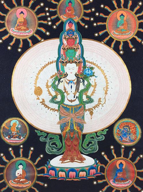 千手觀音唐卡 泥金 精緻手繪 Lokeshore Handpainted Thangka 65x48.5 cm