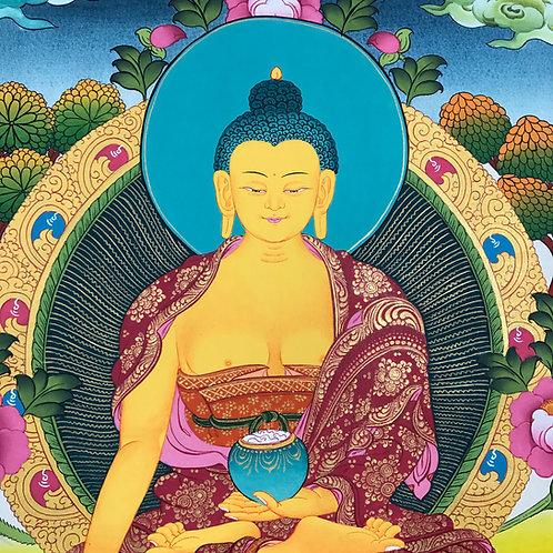 釋迦佛 唐卡 (中) 有布邊 手繪 Sikyamuni Thangka 60x100cm