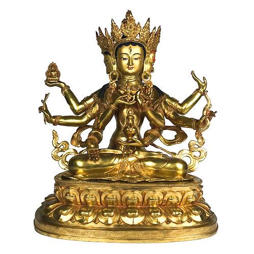 "尊勝佛母 銅 全鎏金 手工 尼泊爾 Namgyal Statue Fully Gold Handmade Nepal 19"" (48 cm)"