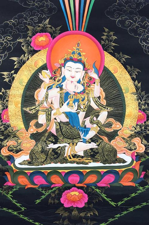 無布邊 手繪唐卡(中)-金剛薩埵 雙身 Thangka-Vajra Satwo Sakti 43x59cm
