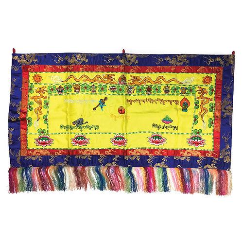 綜合咒語 蓮花 雙龍 八吉祥 橫布 (黃) Mix Mantras Cloth 109 x 56cm
