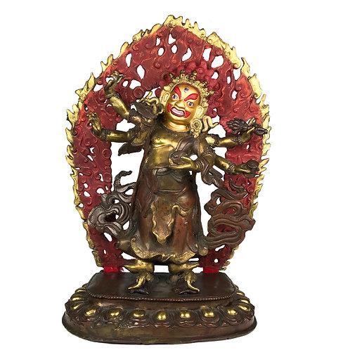 """六臂 白瑪哈嘎拉銅半鎏金 手工尼泊爾 佛像 Six Arms White Mahakala Statue Copper Nepal 15"""" (38 cm)"""