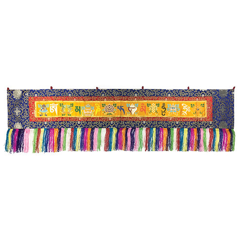 八吉祥+六字咒語布 (黃) Astamangala Omani Cloth180 x 32 cm