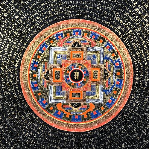 時輪壇城 咒語唐卡 Mandala Mantra Handpainted Thangka Nepal 103x103cm