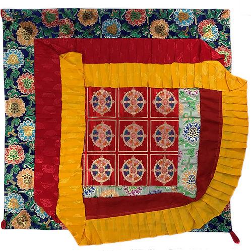 寶蓋 法輪 / 蓮花(藍邊) 四方 Ceiling Top cloth Sqaure 120 cm