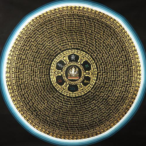 四臂觀音 六字箴言千咒語 不丹手繪唐卡 ChenresiThousand Mantra Bhutan Handpainted 110x110cm