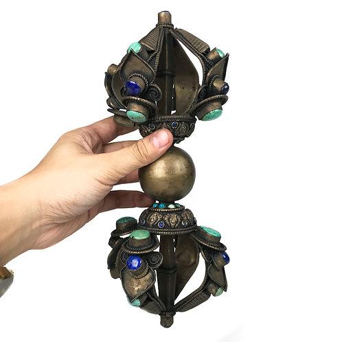 金剛杵 五股 銅 鑲寶石 Dorje 5 leaf Copper with stones 24cm