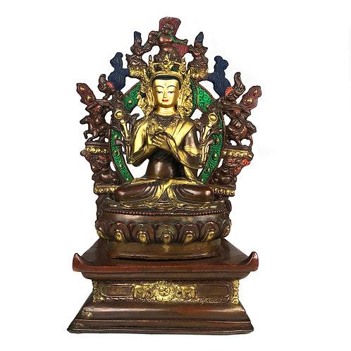 """菩薩雙座 銅半鎏金 手工 尼泊爾 Statue PartlyGold Gilted Nepal11"""" (28 cm)"""
