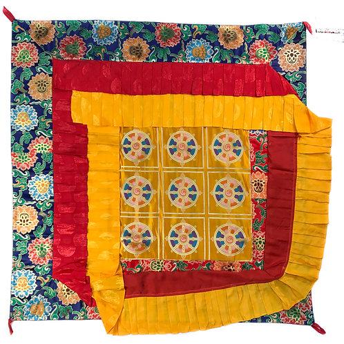 寶蓋 法輪 / 蓮花 (藍邊) 四方 Ceiling Top cloth Square 120 cm