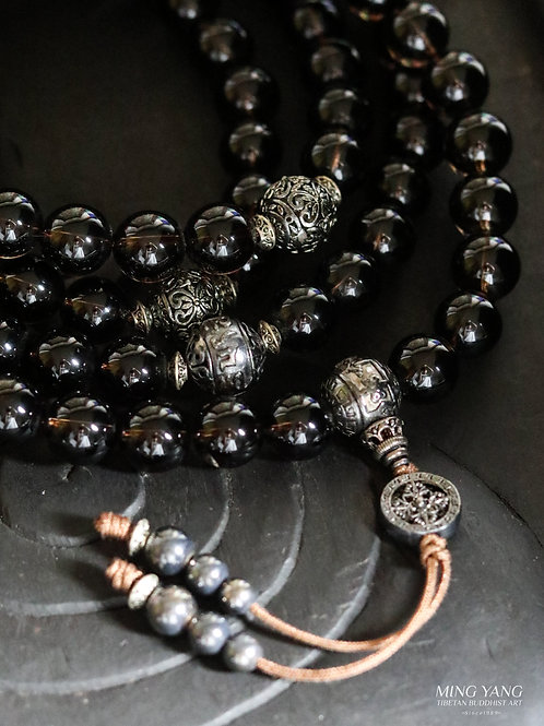 墨水晶念珠 108 Dark Smokey Crystal Mala Prayer Beads 108