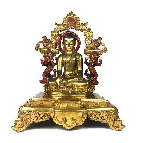 """釋迦佛 銅 全鎏金 背光 金剛座 尼泊爾 Sakyamuni Buddha Statue Frame Double Base 12"""" (31 cm)"""