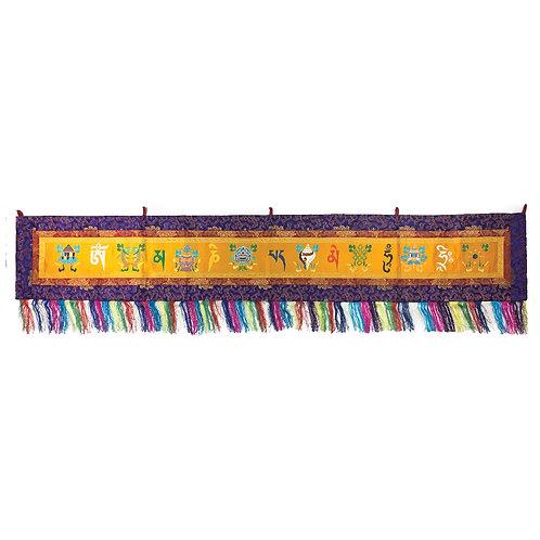 八吉祥+六字 橫布 (黃) Astamangala Omani Cloth 192 x 33 cm
