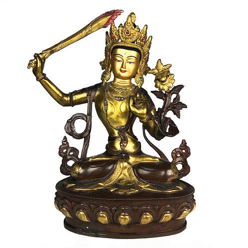 """文殊菩薩 銅半鎏金 手工 尼泊爾 MenjushreeStatueCopper Partly Gold Nepal 12.5"""" (32cm)"""