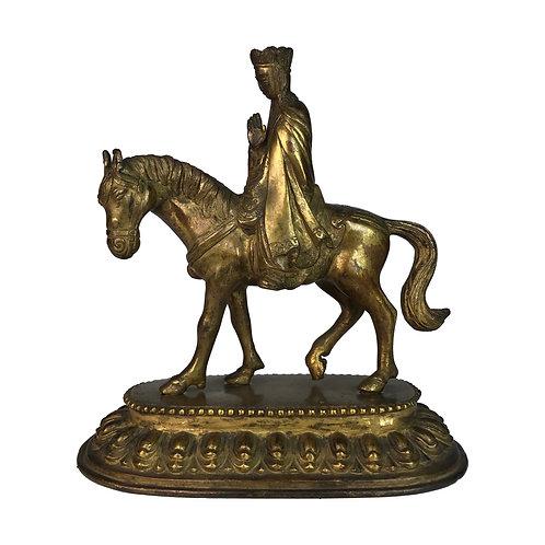 唐僧-1 銅 鎏金 仿古 手工尼泊爾 佛像 Monk Statue Copper Handmade Nepal 19x20cm / 1.9kgs