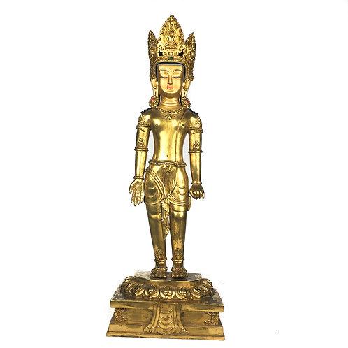 """立觀音 銅 全鎏金 手工 尼泊爾 佛像 Standing Avalokiteśvara Copper Fully Gold Nepal 17"""" (45 cm)"""