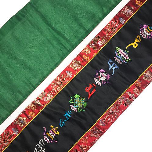 八吉祥+六字大明咒 綜合 直布/幡 一對 (黑) Vertical cloth Omani & Tashi 23x 90cm