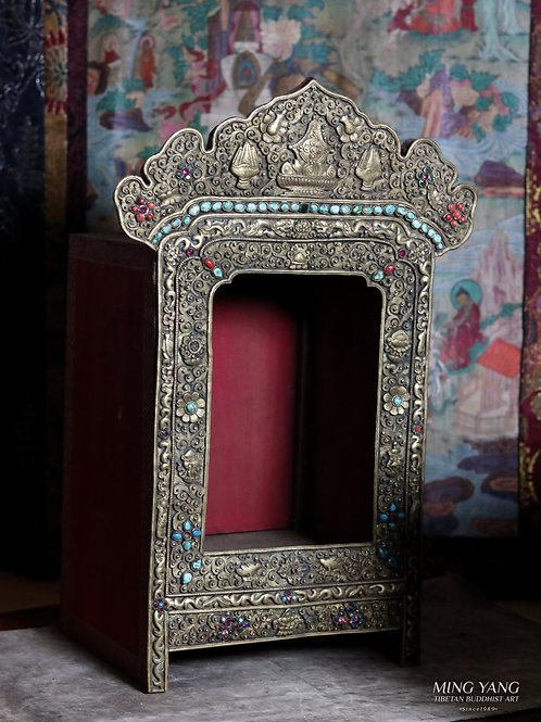 嘎屋 銅 鎏金鑲寶石 手工 尼泊爾 Ghao Shrine Copper Gold Gilted with stones Handmade Nepal