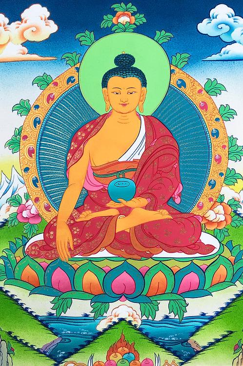 釋迦佛 (小) 唐卡 手繪 Shakyamuni Handpainted Small Thangka W53/H90 cm