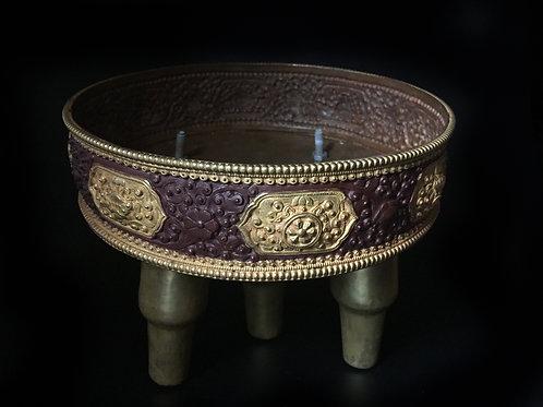 獻曼達 銅半鎏金Offering Mandala Copper with partly Goldgilted 直徑 D20cm