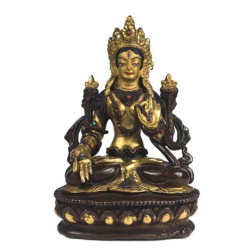 """白度母 (B) 銅 半鎏金 手工 尼泊爾 佛像 White Tara Copper Handmade Nepal 5.5"""" (13.5 cm)"""