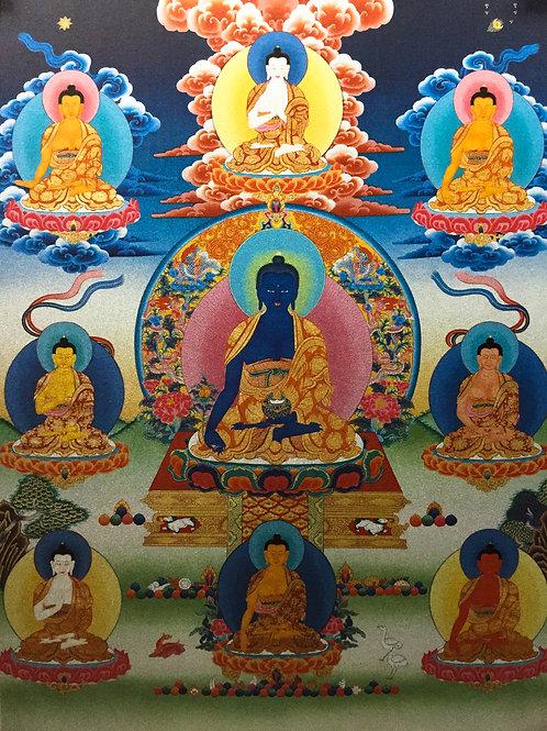 藥師佛唐卡 輸出印刷裝框 Medicine Buddha Printed Thangka with Frame