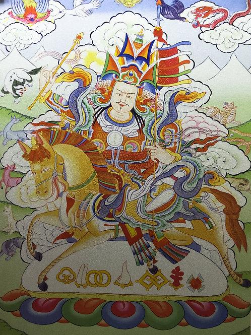 給薩王唐卡 輸出印刷裝框 Gesar King Printed Thangka with Frame