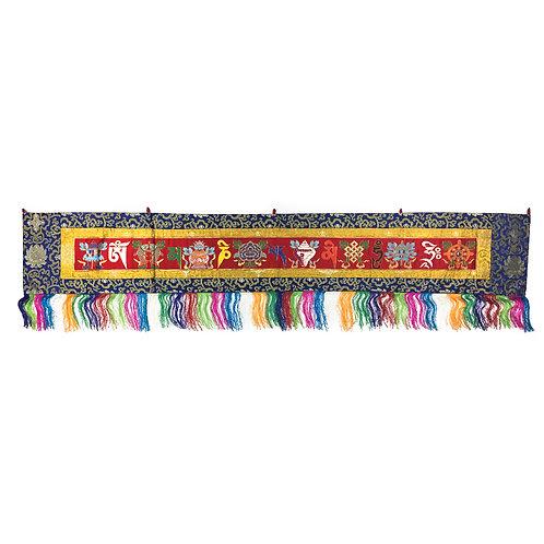 八吉祥+六字咒語布 (紅) Astamangala Omani Cloth 180 x 32 cm
